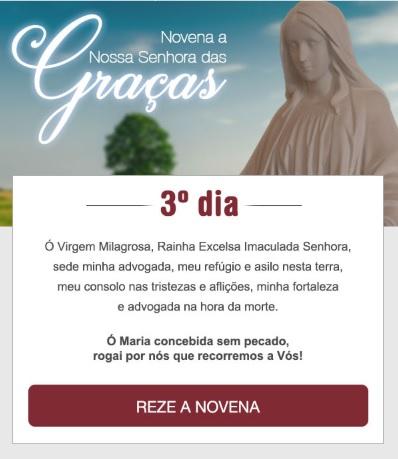 NOVENA A NOSSA SENHORA DAS GRAÇAS: VIRGEM DA MEDALHA MILAGROSA, ROGAI POR NÓS!