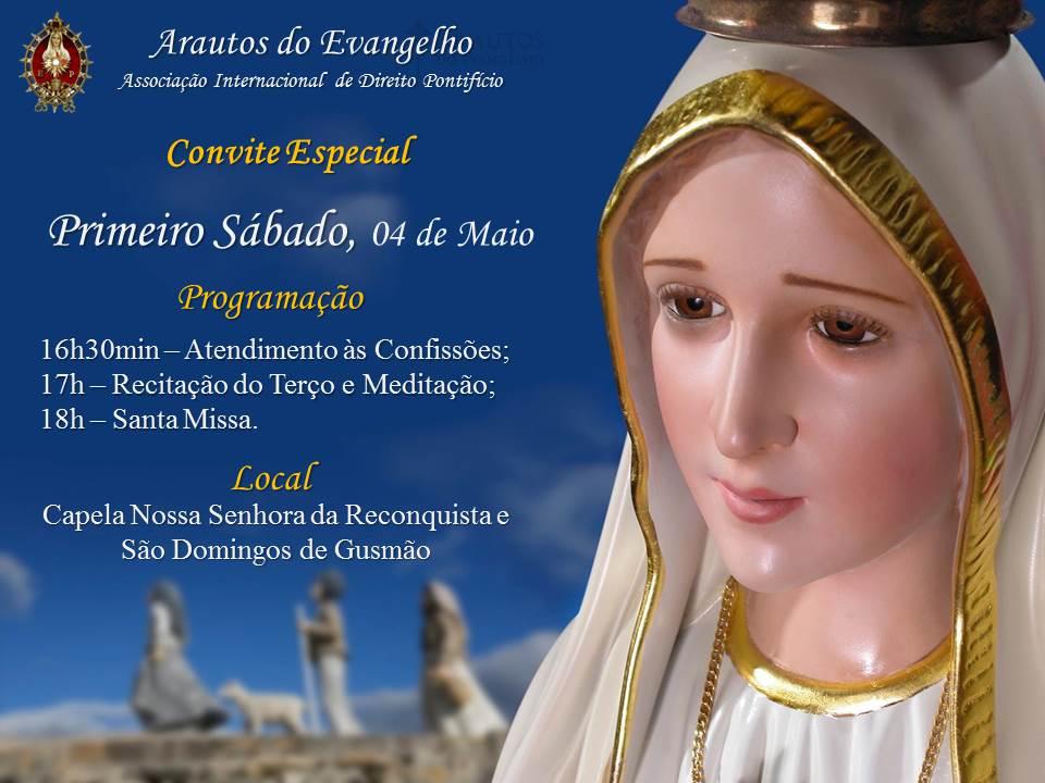 Primeiro Sábado de Maio, mês de Maria. Participe!